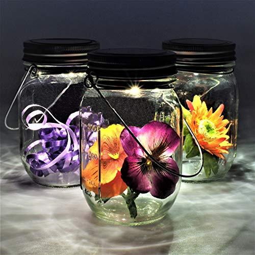 Gadgy ® 3 Lampade Solari Barattolo di Vetro Set | 3 Pezzi con 5 Led's Luce Calda Bianca | Luci Lanterne Illuminazione | Esterno Interno Giardino