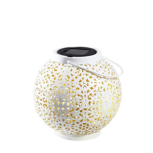 Gadgy Lanterna bianca in metallo | Luci solari esterno decorative | Lampada marocchina con effetto ombra | Sospensione impermeabile per giardino