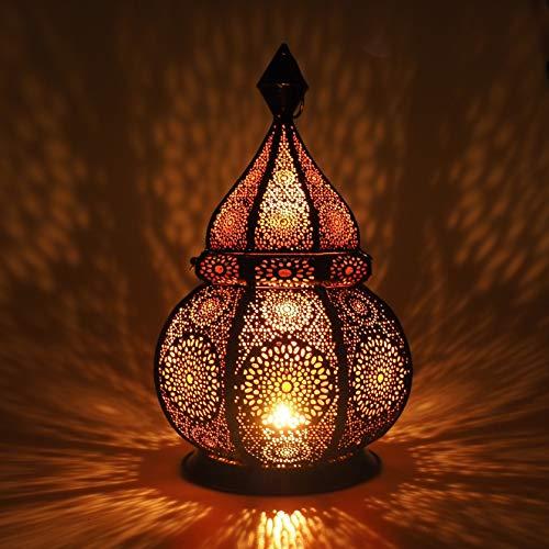 Gadgy ® Lanterna portacandela (36 cm) l sostiene Candele e Luci elettricas l Deco Interni e Esterni l Resistente al Vento l Stile Marocchino-Arabo/Indiano-Orientale l Fatto a Mano