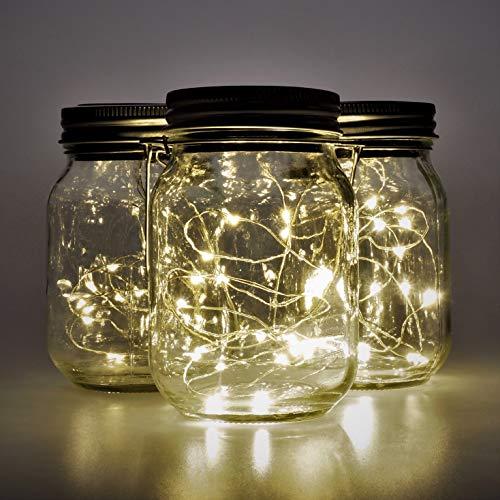 Gadgy ® Lanterna Solare Barattolo di Vetro Set Luci Fatate | 3 Pz | 20 Led's Luce Calda Bianca | Lanterne Illuminazione | Esterno Interno Giardino