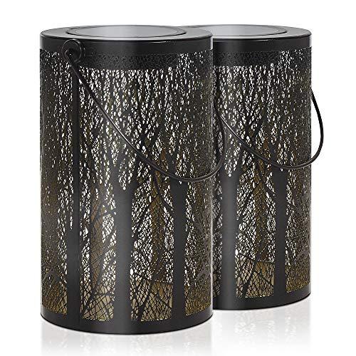 Gadgy Set di 2 lanterne da esterno | per decorazioni da giardino | Lanterna solare decorative con la riflessione dell'albero | Ornamenti impermeabili da appendere, da tavolo o da terra