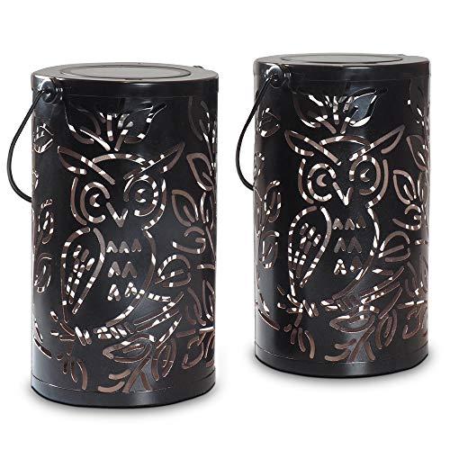 Gadgy Set di 2 lanterne da esterno | per decorazioni da giardino | Lanterna solare decorative con la riflessione dell Gufo| Ornamenti impermeabili da appendere, da tavolo o da terra