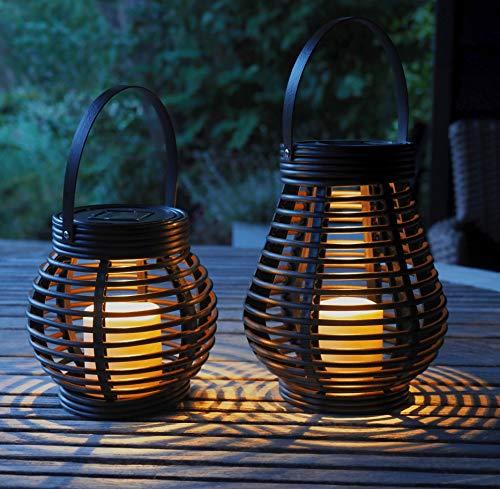 Gadgy ® Set Lanterna Solare Rattan | 2 Pezzi Lanterna Rotonda e Allungata | Plastica Colore Marrone Marmorizzato | LED Luci da Esterno Giardino Interno