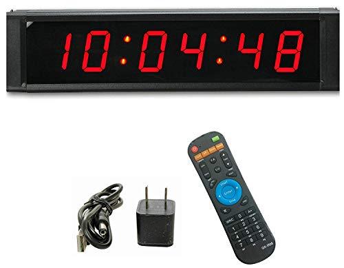 Ganxin Orologio digitale multifunzionale da parete a LED, con telecomando, visualizzazione a 6 cifre da 2,5 cm, formato 12/24, dotato di timer e cronometro