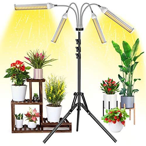 Garpsen Lampade per Piante Indoor, 420 LEDs 4 Heads Lampada per Coltivazione con Treppiede Regolabile(0.3-1.6M) e Timer, Spettro Completo Grow Light per Semina, Crescita, Fioritura e Fruttificazione