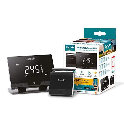 Garza 401267 Smarthome - Termostato smart WiFi per caldaia e riscaldamento, touch e programmabile, controllo vocale e App, Alexa, iOS, Google, Android, colore nero