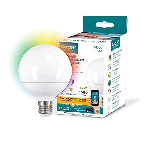 Garza Smarthome – Lampadina LED WiFi CCT + RGB 12 W Globo E27 intelligente e programmabile, cambiamento di intensità + tonalità + colore, controllo vocale e app, Alexa, iOS, Google, Android