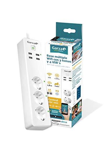 garza SmartHome–Multipresa spina multiple intelligente Wi-Fi Compatibile con Alexa E Google home. Multipresa per controllo remoto programmabile con 4USB. Compatibile con iOS E Android.