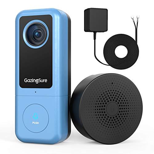 GazingSure Videocitofono WiFi, 2K QUAD HD, citofono con campanello, zona di rilevamento intelligente, funziona con Alexa, archiviazione su cloud/scheda SD