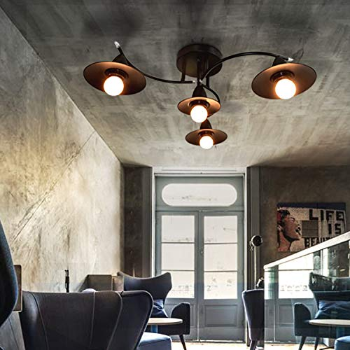 GBLY E27 plafoniera nera moderna lampada da soggiorno 4 fiamme lampada da sala industriale lampada da camera interna lampada da pranzo in plastica in metallo moderno, lampadine non incluse