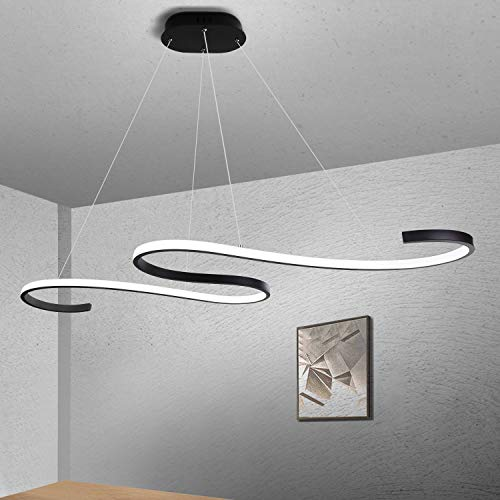 GBLY LED lampada a sospensione tavolo da pranzo 45W dimmerabile lampada a sospensione moderna nero 150 cm regolabile in altezza illuminazione a soffitto per interni per sala da pranzo ufficio