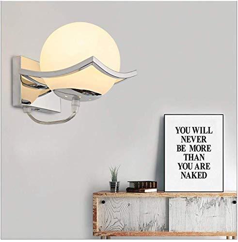 geoco, applique con sfera LED in vetro, lampada moderna da interni, in acciaio inossidabile, per soggiorno, camera da letto, Corridoio