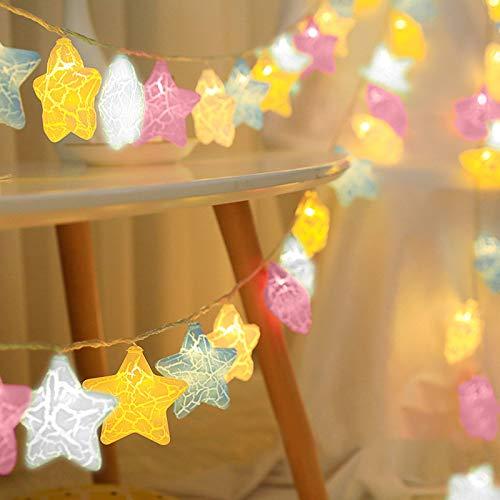Ghirlanda luminosa con stelle colorate, per Natale, compleanno, vacanze, feste, interni ed esterni