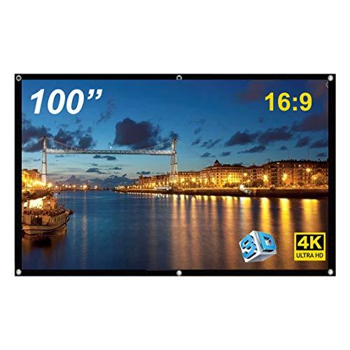GHKJOK Schermo Proiettore, pieghevole da 100 pollici Telo proiettore, di vetro per HD anti-piega per home theater, ufficio, presentazione aziendale, film Telo proiettore portatile