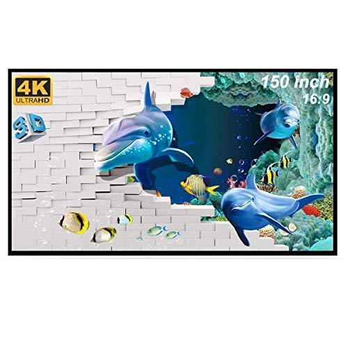 GHKJOK Telo per proiettore, Pieghevole da Schermo proiettore 150 pollici, Telo proiettore 16:9 da film HD lavabile anti-piega riunioni dufficio PPT Home Theater Telo proiettore da pavimento
