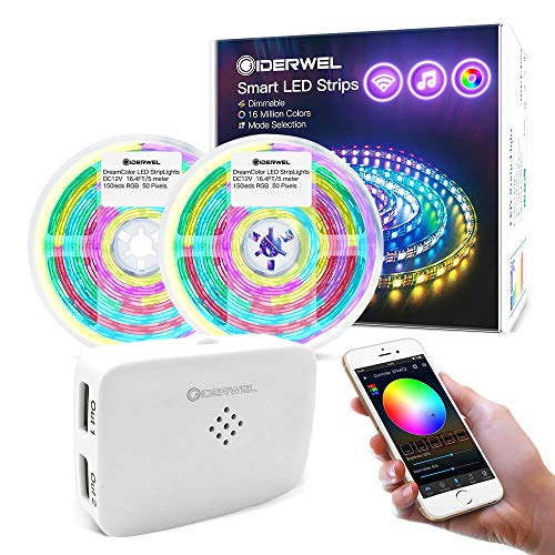GIDERWEL10 m WiFi Smart Dreamcolor, kit di strisce LED con Alexa/Google Assistant, striscia luminosa RGB espandibile con controller WiFi LED, sincronizzazione con musica