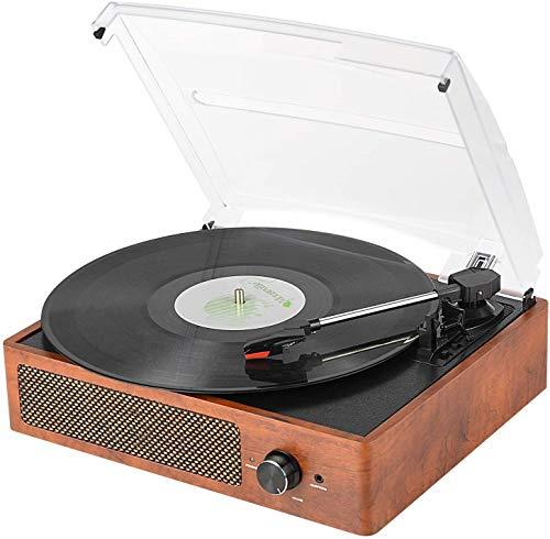 Giradischi Bluetooth Portatile a Tre Velocità (33 1/3, 45 E 78 Giri), Vintage Vinile Giradischi con Altoparlanti Stereo Integrati, supporta uscita RCA/Jack per cuffie / MP3