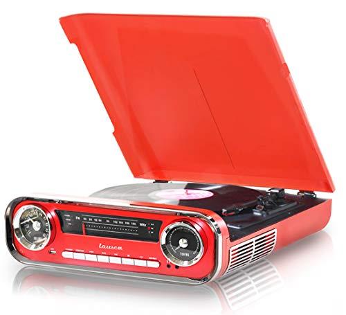 Giradischi Designer Auto d'epoca 2 altoparlanti stereo da 3W integrati lettore lp con radio FM, funzione Bluetooth, USB, AUX | 3 velocità (33, 45, 78) Lauson 01TT17 (Rosso)