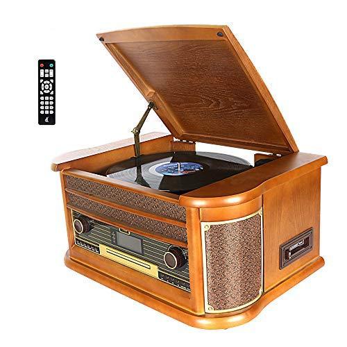 Giradischi DLITIME con Radio DAB e FM/USB/RCA/AUX/Telecomando/Lettore CD/Giradischi in Vinile