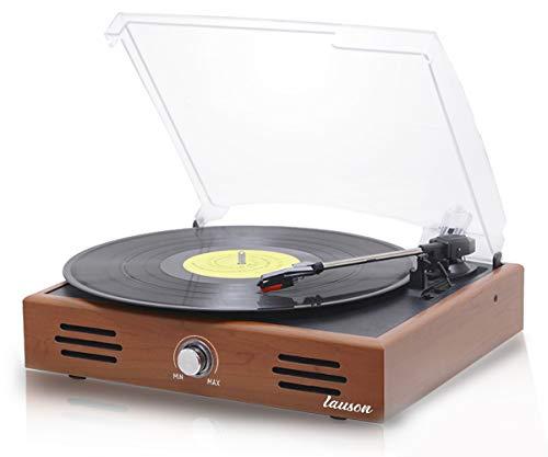 Giradischi Vinile Vintage | Giradischi con Altoparlanti Stereo Integrati | Lettore vinile 3 velocità | Record Player | Giradischi USB | Supporta Uscita RCA | LAUSON JTF035 (Rovere)