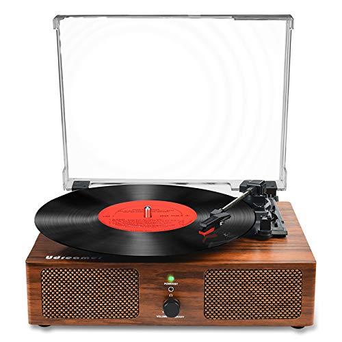Giradischi Vinile,Giradischi Bluetooth con altoparlanti incorporati e USB a cinghia, registratore acustico vintage a 3 velocità, per intrattenimento e decorazione della casa
