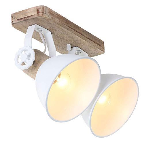 Globo 7969W Mexlite - Lampada da parete con 2 faretti, stile vintage, E27, in legno rustico, colore: Marrone/Bianco