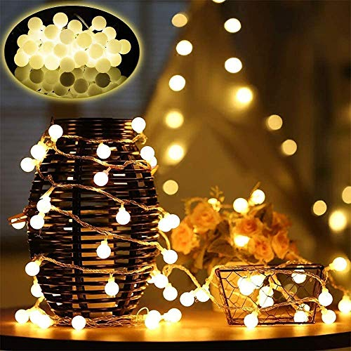 Globo di luci di Natale 10M 100 luci a stringa Leds per interni per camera da letto Decorazioni natalizie, 8 modalità Illuminazione esterna impermeabile per matrimoni Festa di compleanno Giardino