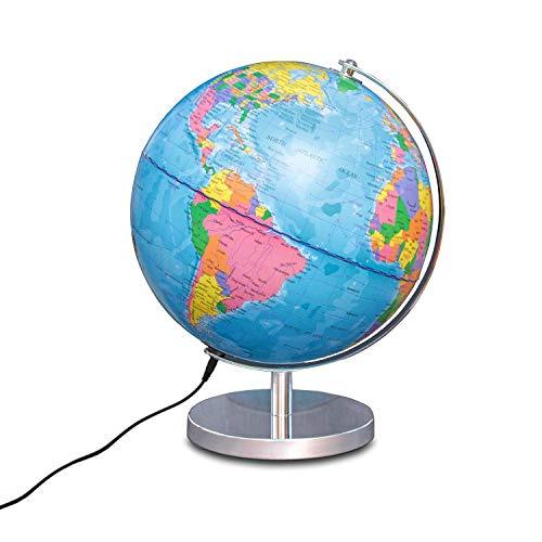 Globo Illuminato Magellan Albion con Immagine della Mappa Politica ed Economica Illuminazione a LED, Diametro 25 cm, Globo con Base Metallica Color Ottone e meridiano 25 cm