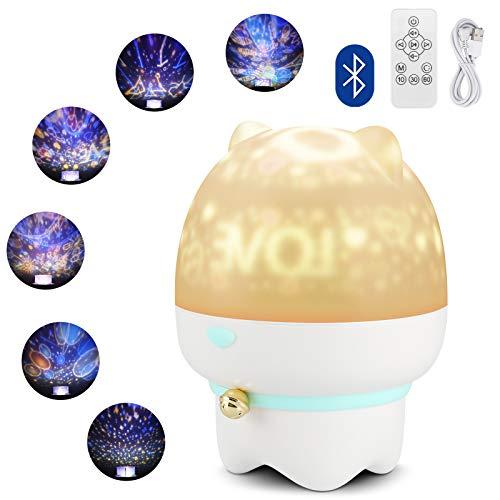Gobesty Baby Night Light Projector, LED Star Projector Light Galaxy Projector Light con 6 Film di proiezione Altoparlante Bluetooth per Bambini Camera da Letto e Decorazioni per Feste
