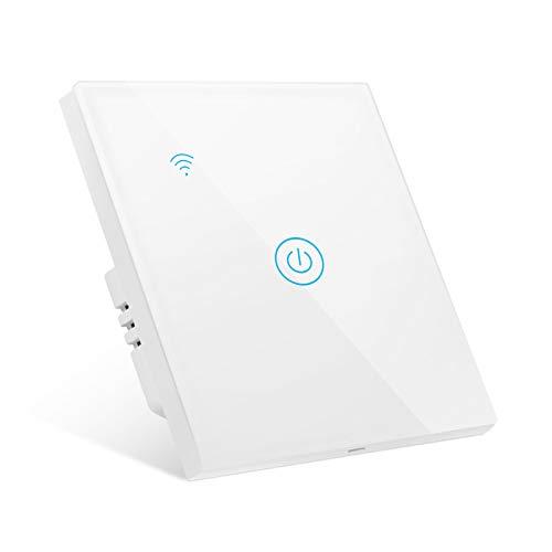 Gobesty Interruttore della luce intelligente, Interruttore della luce WiFi Alexa tattile, nessun cavo neutro richiesto, controllo vocale compatibile con APP Smart Life Google Home Alexa, 1 gang