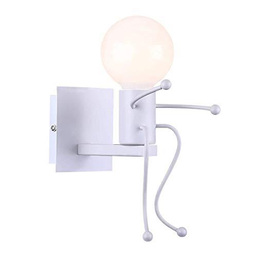 Goeco Lampada da parete Robot, Applique da parete nero stile creativo contemporaneo e retrò, Applique da parete per comodino camera da letto per bambini (Bianco)