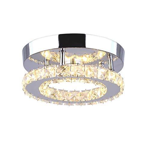 Goeco Plafoniera Lampada LED, Plafoniera Soffitto Cristallo Moderna integrati Lampada da Soffitto 18W 3000k per soggiorno Camera da letto(20cm Singolo strato)