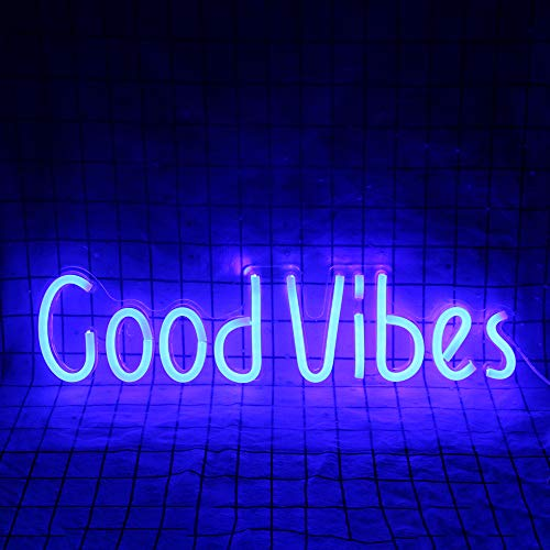 Good Vibes Insegne al neon Luci Bar Party Restaurant Camera da letto Art Wall Decor Light Alimentato tramite USB (19,6''× 4,9'')