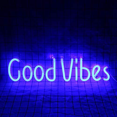 Good Vibes Insegne al neon Luci Bar Party Restaurant Camera da letto Art Wall Decor Light Alimentato tramite USB (19,6''× 4,9'')