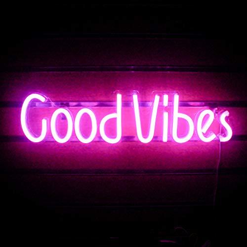 Good Vibes Insegne al neon Rosa Good Vibes Parole Luci al neon per la decorazione della stanza Lampada luminosa Bar Pub Hotel Party Sala giochi Decorazione della parete (19,6 `` × 4,9 '')