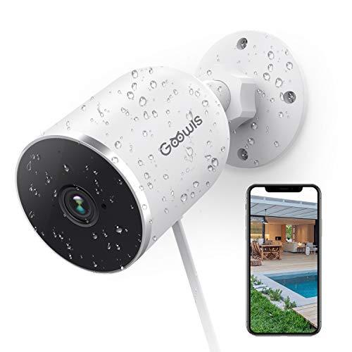 Goowls Telecamera IP Esterna, 1080p Videocamera Sorveglianza Esterno WiFi IP65 Visione Notturna Impermeabile con Rilevazione Movimento,Audio Bidirezionale con Alexa