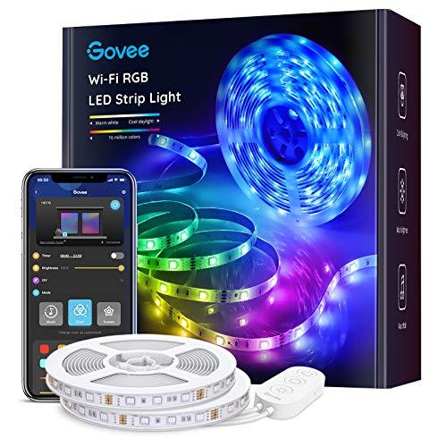 Govee Striscia LED, Smart 2 rotoli da 5m WiFi RGB, Compatibile con Alexa e Google Assistant, App Controllato Musica, Multicolore per casa, Bar, Festa,12V 1.5A