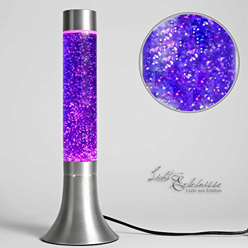 """Grande Lampada lava """"Yvonne"""" viola glitter 38cm con Cavo interruttore Sorgente luminosa"""