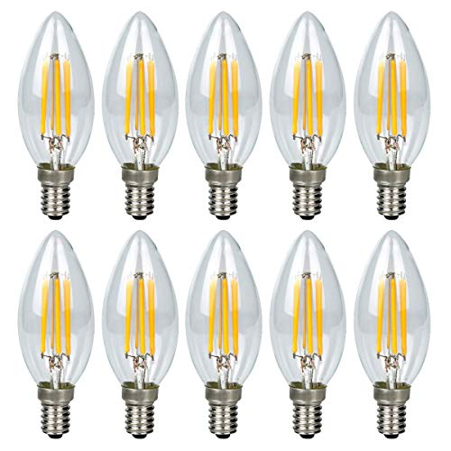 GreenSun LED Lighting Unità Lampadine LED Candela 10x E14 6W Luce Bianco caldo 2800K, Pari a Lampadine Incandescenza da 60W, 6 Filamento, Lampadine a LED