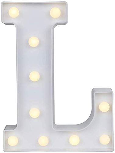 Gspirit LED Marquee Lettera Luci 26 Alfabeto Accendere Cartello Natale Luce otturna Lampada per Nozze Casa Festa Bar Decorazione (L)