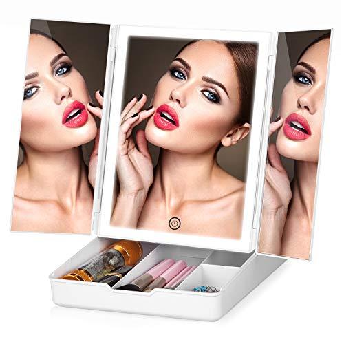 HAMSWAN Specchio per il trucco, specchio cosmetico con LED, Tre luci LED regolabili, Specchio Triplo Con Scatola per il trucco, Specchio con luce touch screen, doppia modalità di alimentazione
