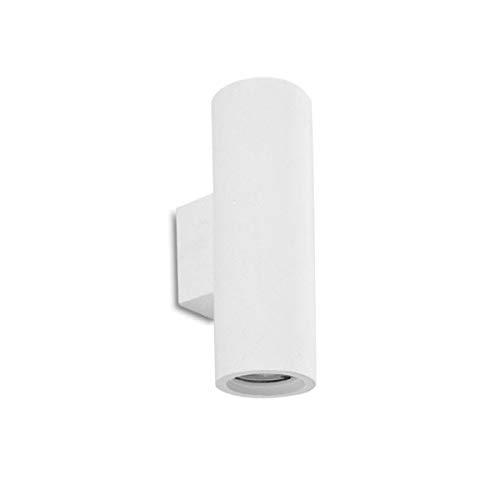 HANHAN Applique da parete interno lampade decorazioni parete in gesso Bianco Luce Up&Down Biemissione per 2 Faretti GU10 (TONDO)