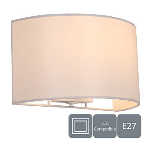 HARPER LIVING 1xE27/ES - Lampada da parete con interruttore, paralume in tessuto semicircolare, adatta per l'aggiornamento LED, B&B, bianco (avorio)