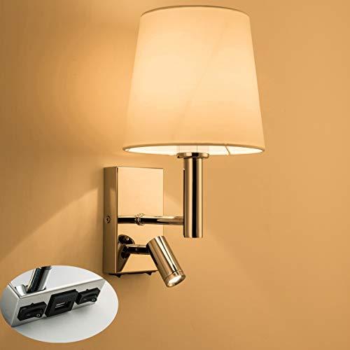 HARPER LIVING 1xE27/ES su giù applique da parete con luce di lettura regolabile, 1 USB porta e 2 interruttori on-off, finitura cromata lucida, paralume in tessuto bianco (paralume del cilindro)