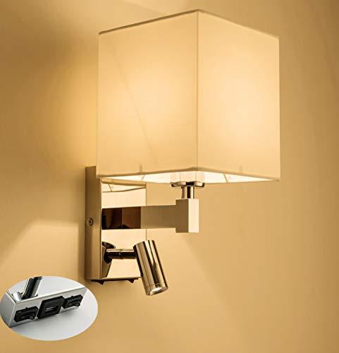 HARPER LIVING 1xE27/ES su giù applique da parete con luce di lettura regolabile, 1 USB porta e 2 interruttori on-off, finitura cromata lucida, paralume in tessuto bianco (ombra quadrata)