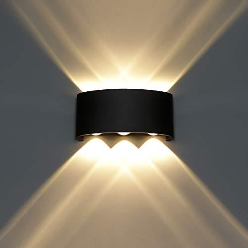 HAWEE Moderno Lampada da Parete LED Applique da Parete Impermeabile Alluminio Lampada da Muro Interno Esterno per Bagno, Portico, Camera da Letto, Corridoio, Soggiorno, Scale, 6W Bianco Caldo