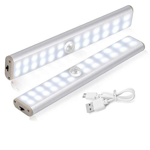 HebyTinco Luce a LED Magnetica Ricaricabile, Lampada Armadio LED con Sensore Movimento, Ricaricabile Sotto Il Gabinetto Cucina Armadio Leggero per Armadio, Scale, Corridoi, Cucina (2 Pack)