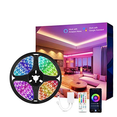 HEEMUUM Striscia LED Smart 5M, Funziona con Alexa e Google Assistant, Impermeabile 16 Milioni di Colori LED Controllo APP Intelligente, Sincronizzazione Musicale, per Feste, TV, Casa, Festival