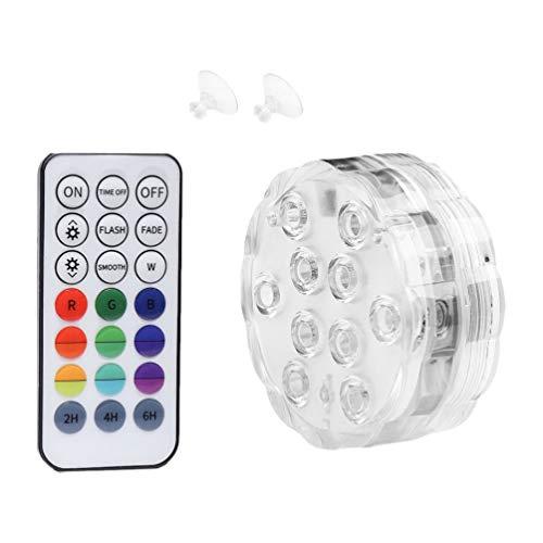 Hemoton - Luci a LED subacquee con ventose, impermeabile, cambia colore, telecomando per fontana da laghetto, piscina, 8,5 cm