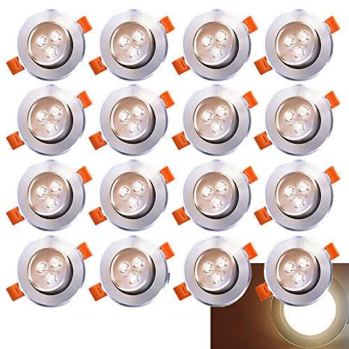 Hengda 20 x Faretti LED da incasso per cartongesso luce calda 3200K, Bianco Caldo 3W Pari a 25W 245lm Luci da Incasso Orientabile di 30° Angolo a Fascio 120° AC 220V Non Dimmerabile